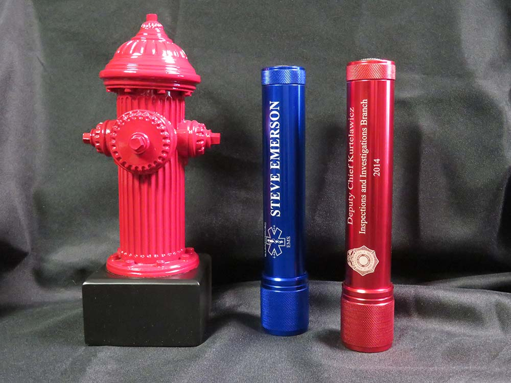 fire hydrant trophy with 2 flashlights