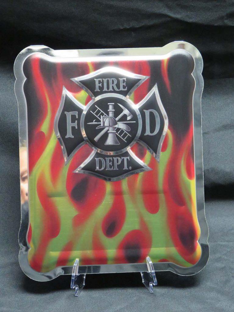 flame background fire dept. plaque