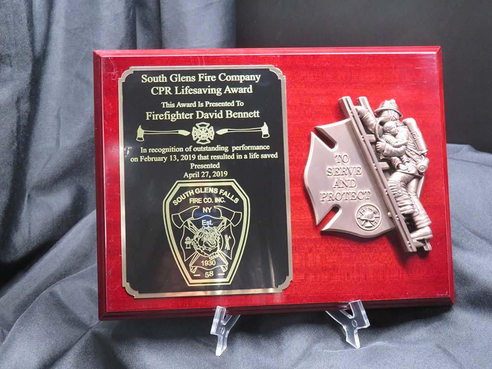 fireman award plaque