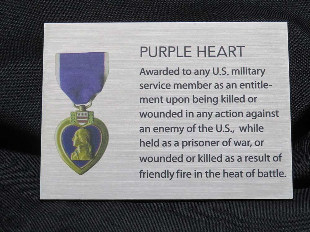 Purple heart explanation plaque