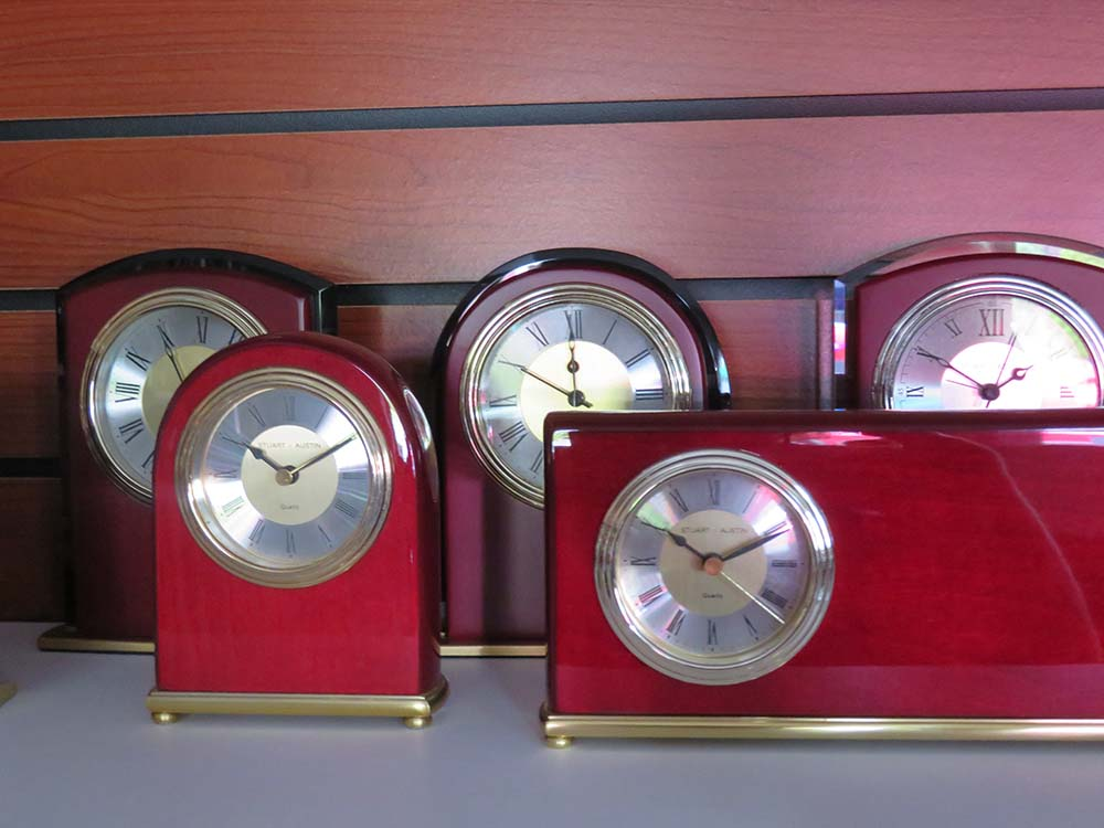 Wood Clocks on shelf
