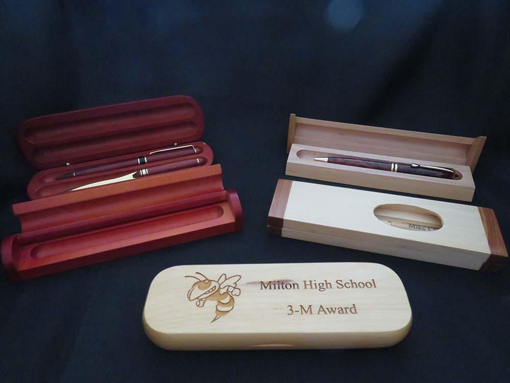 Pens in wooden cases