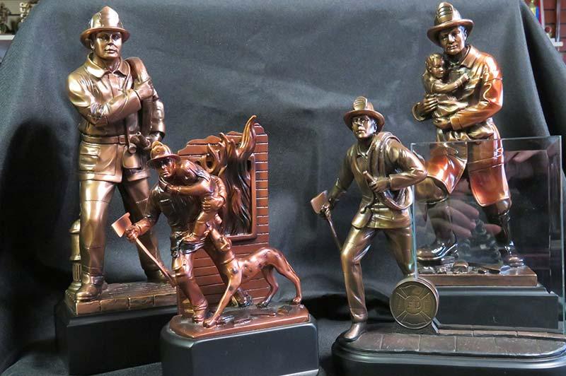 Cast bronze fireman trophies