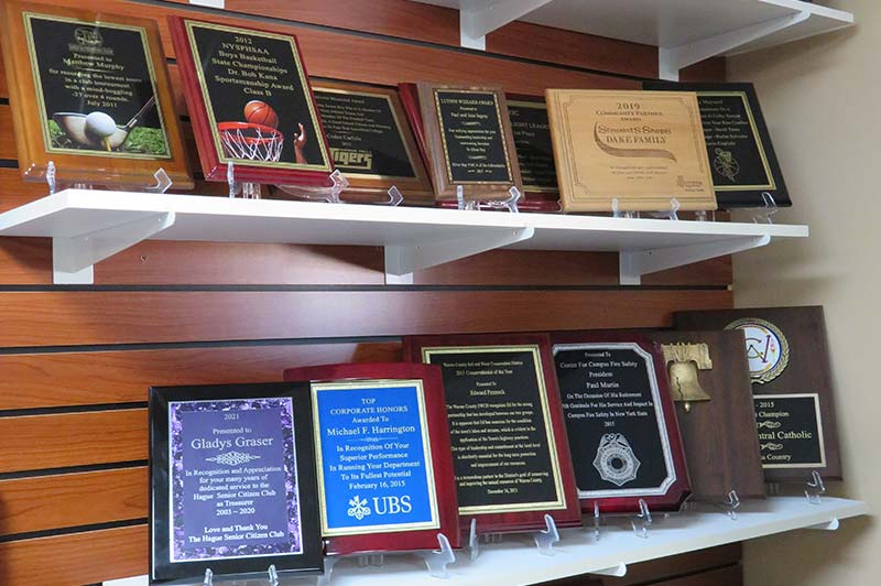 Plaques on display on wall