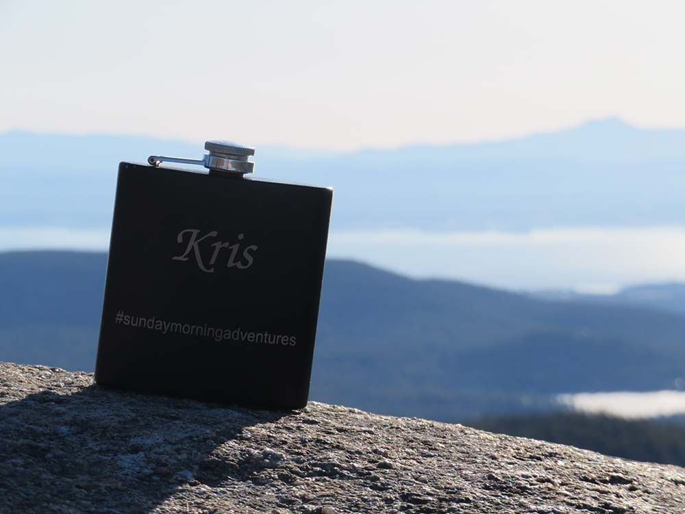 Flask on top of rock
