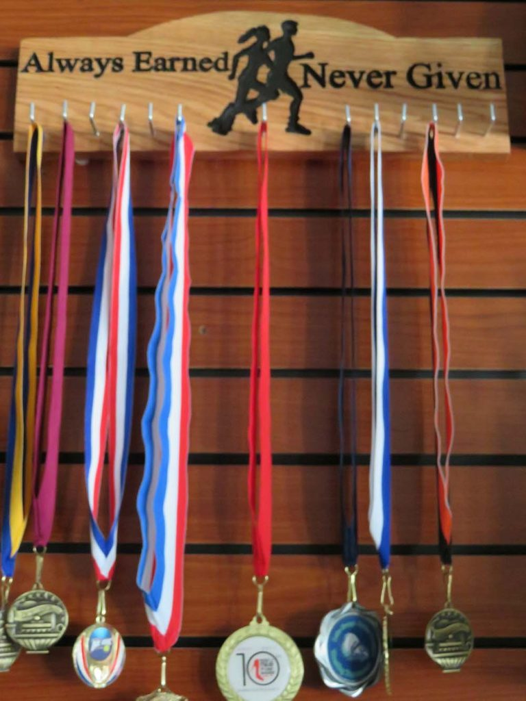 medals with ribbons hanging