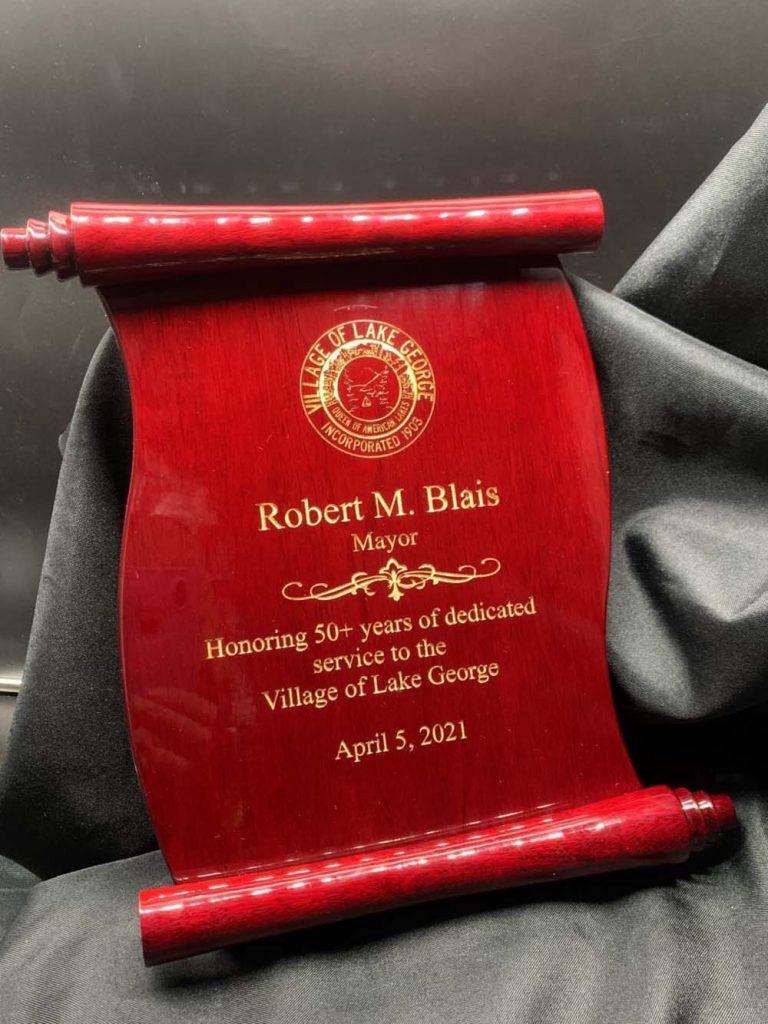 Red scroll thank you plaque