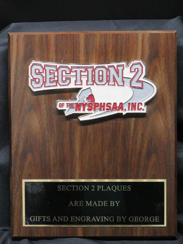 High school sports award plaque