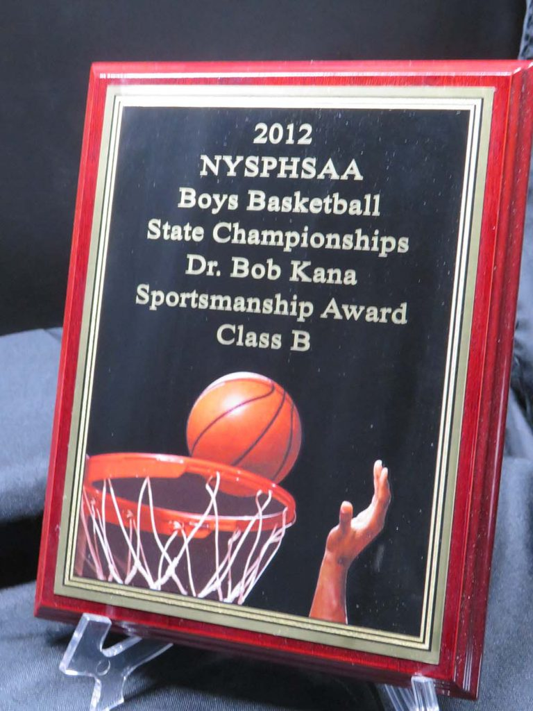 High school basketball plaque