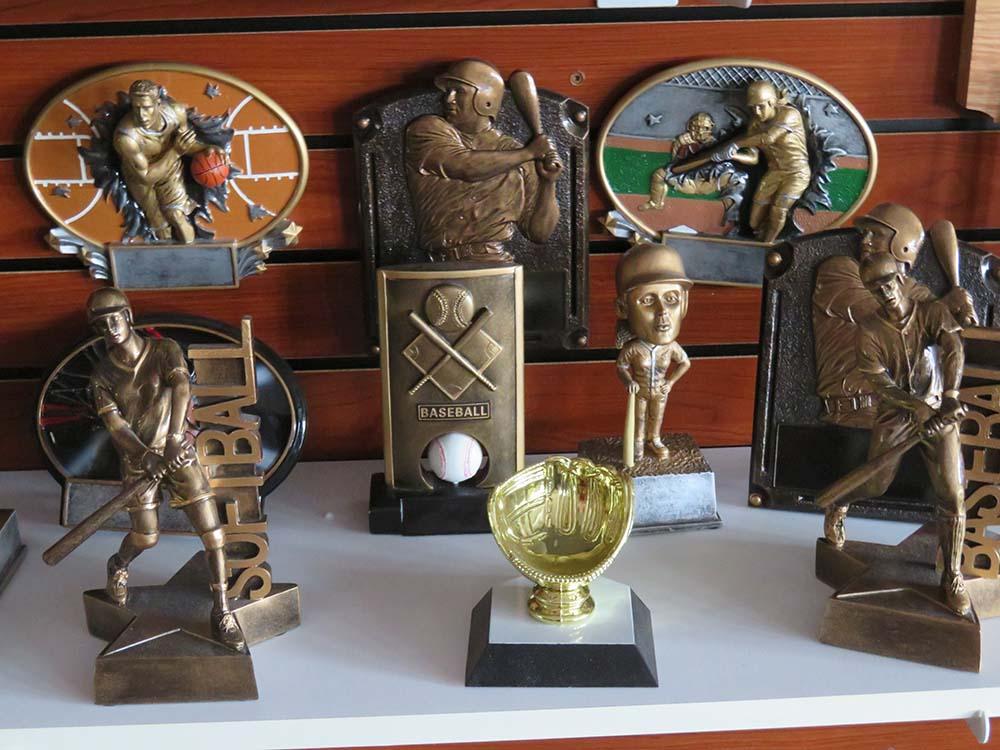 Bronze baseball trophies