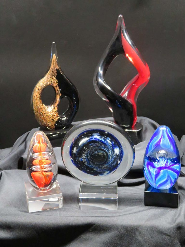 blown glass awards on display