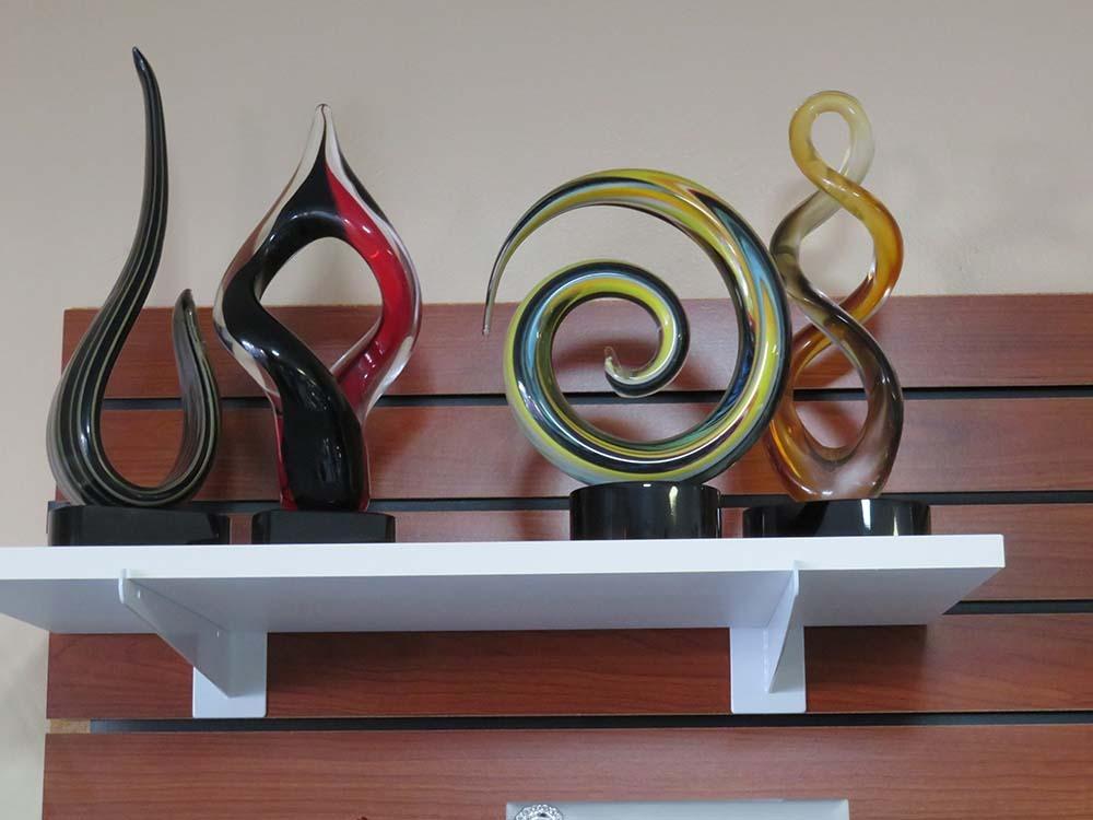 blown glass awards on shelf