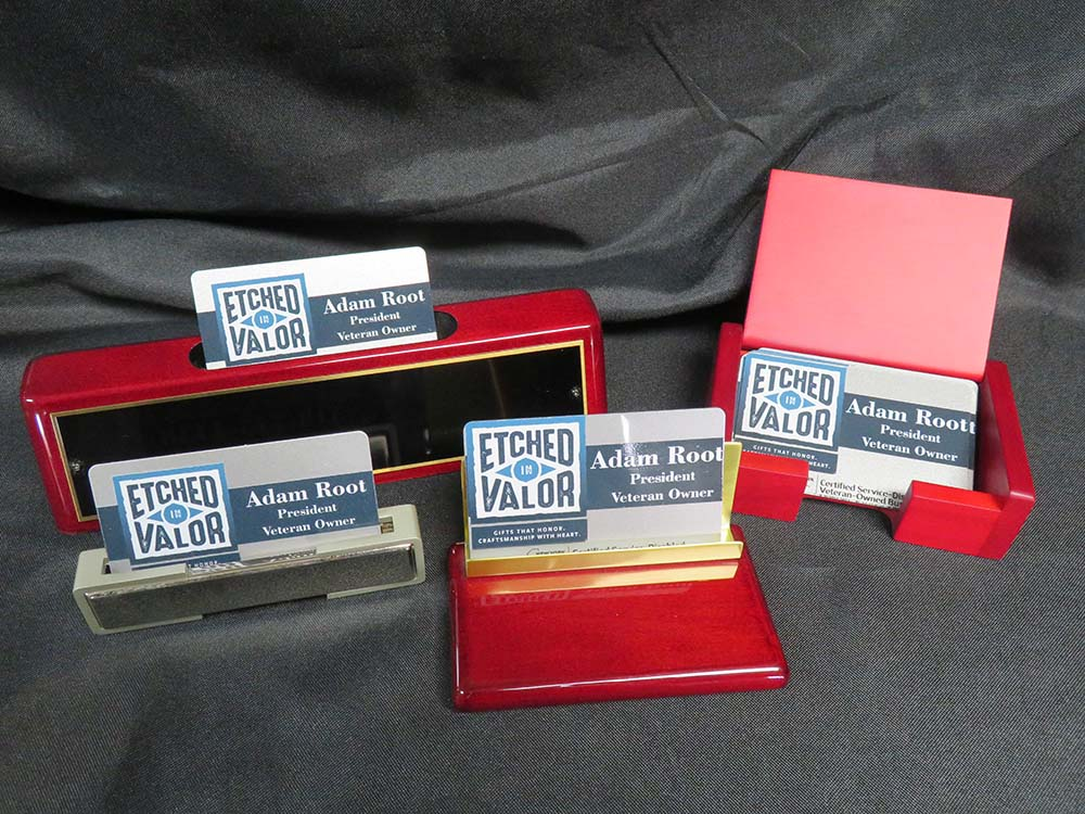 Business card in different holders