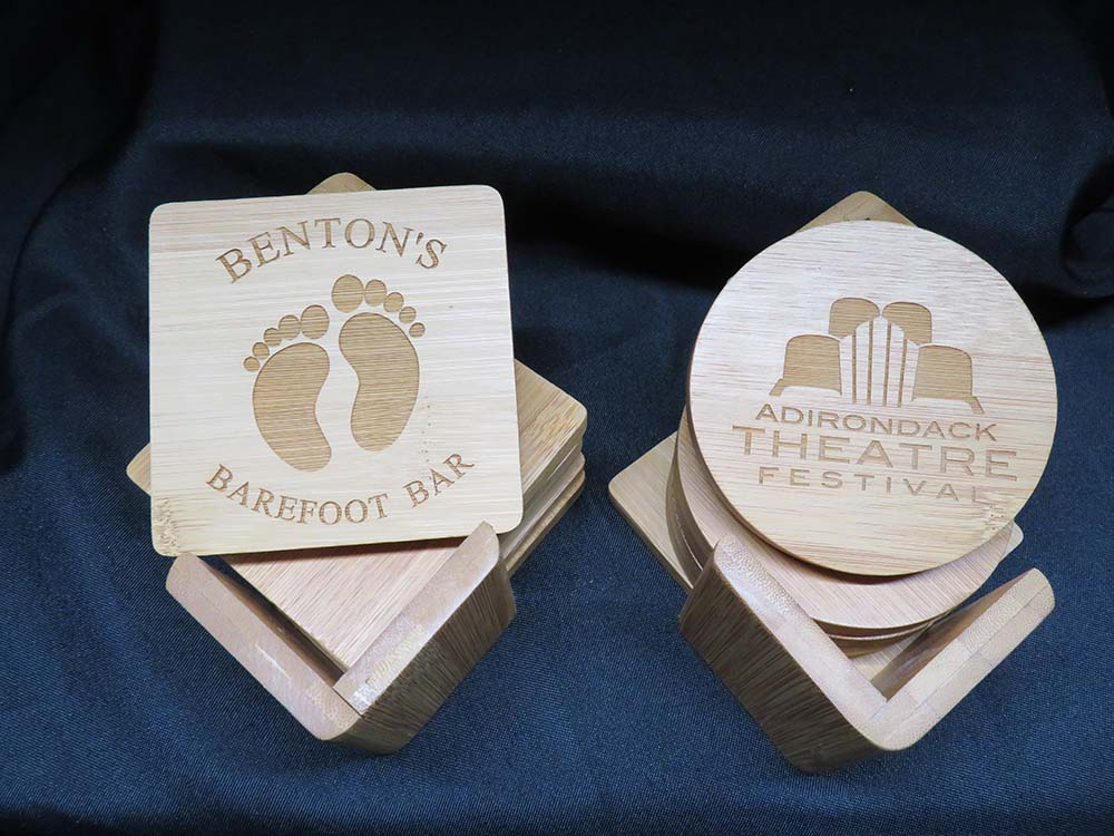 Etched logos in wood coasters