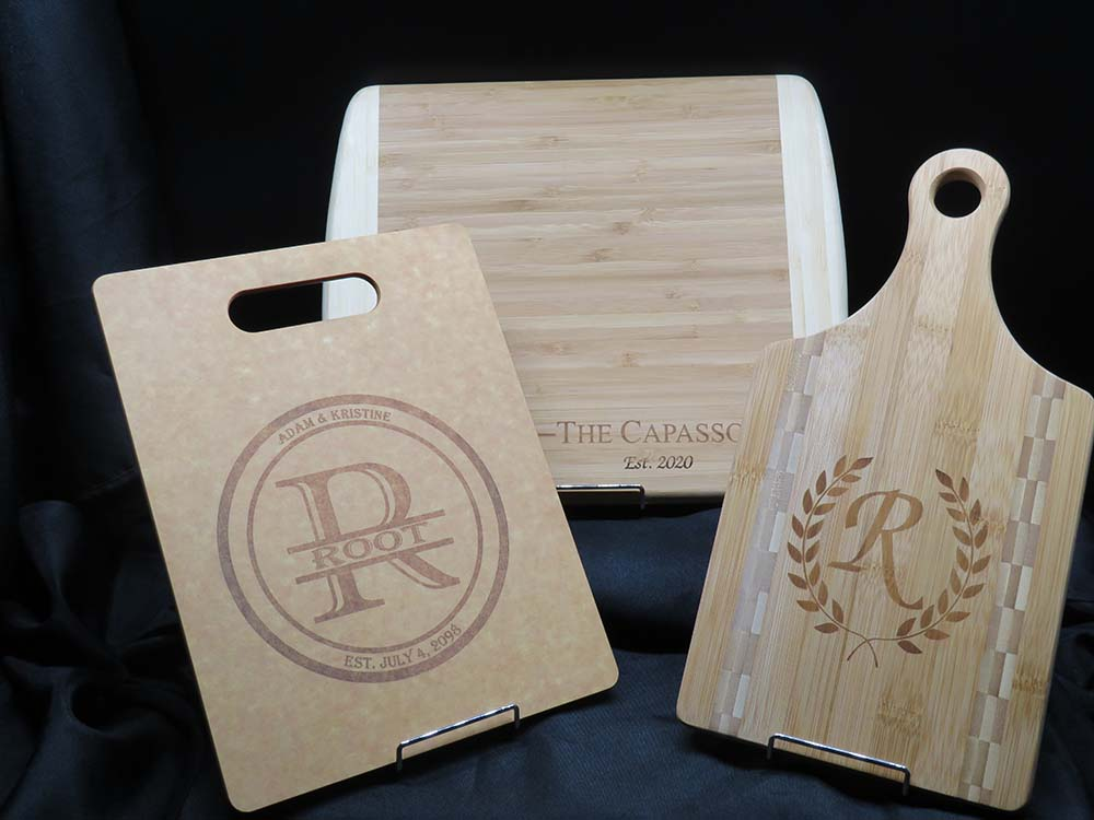 Wood cutting boards with etched logos