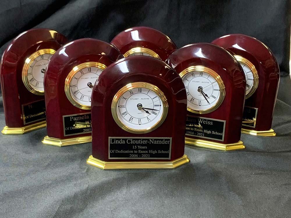 Wood clocks with plaques