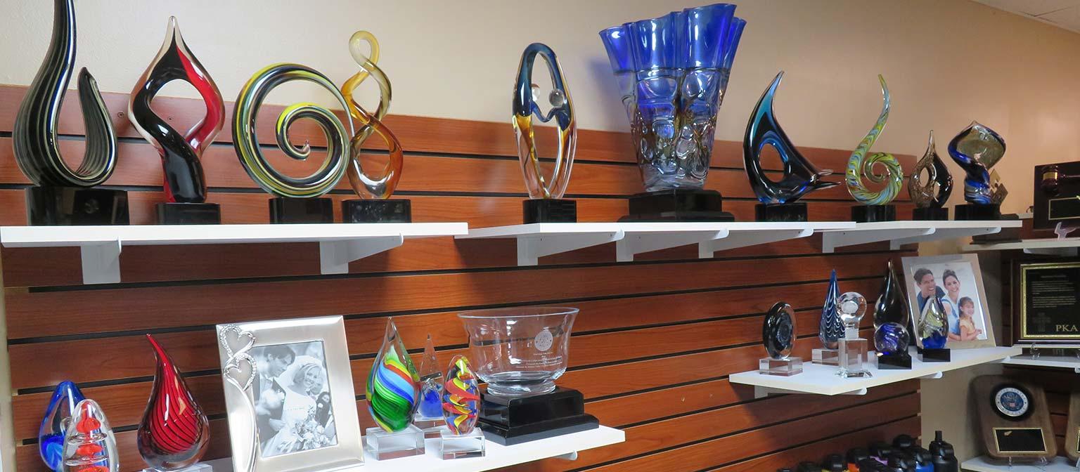 Glass and Acrylic Awards on shelves
